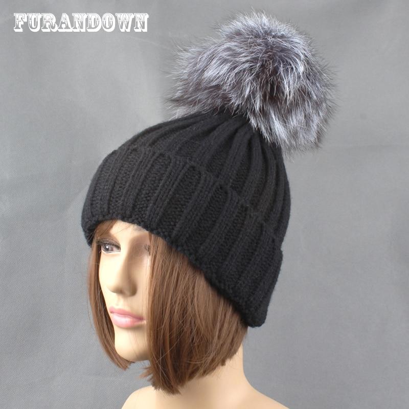 Winter Silver Fox Fur Hats For Women Ensfarget tykk Strikkede beanie - Klær tilbehør - Bilde 3