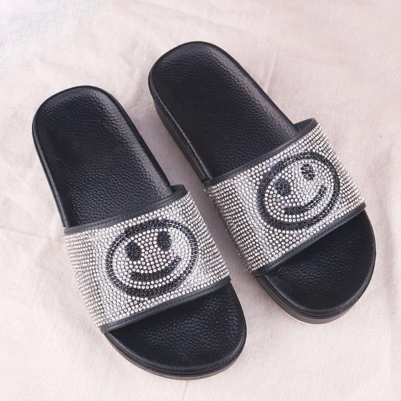 RASS PLE 2019 Fashion Rhinestone Slippers Smile Home