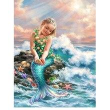 Youran 100% Full Drill Rhinestone Beads Cross Stitch Set DIY Diamond Painting Mosaic Craft Kit Cartoon Girl Oil Picture Decor
