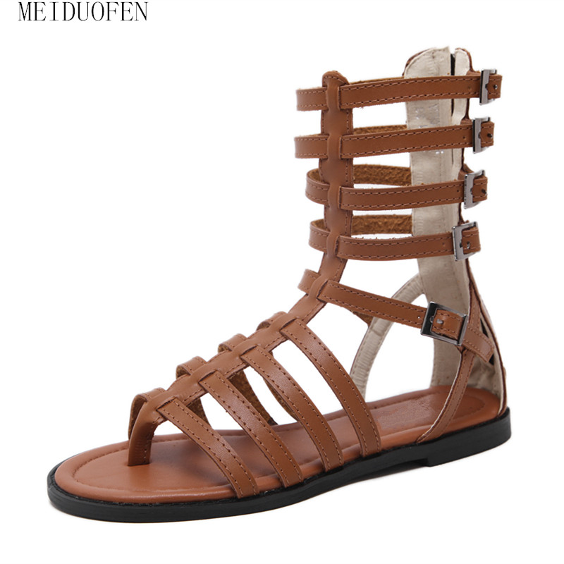 High Quality Leather Women Rome Sandals High Summer