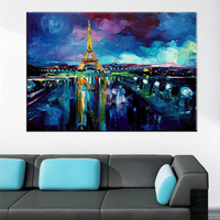 Profesyonel Sanatçı El-boyalı Fransız Paris Yağlıboya Duvar Dekorasyon El üzüyordu Için Eyfel Kulesi Tuval Boyama