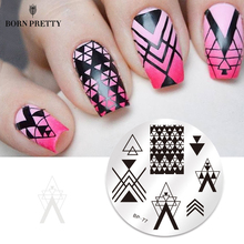 BORN PRETTY Geometry Lace Nail Stamping Plate Space Leaves Flowers Animals Manicure Nail Template Stencil