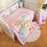 4Pcs Cartoon Baby Bedding Sets Baby Crib Bumpers Bed Around Cot Bed Sheets Cotton Thickening Customizable Baby Beddings