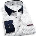 2015 Últimos Hombres de Moda Polka Dot Camisetas de Manga Larga Hombres Camisas Slim fit Business Casual Luxury Brand Camisas Masculina Social