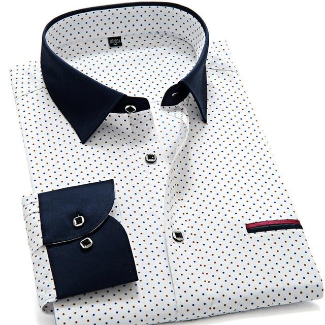 2015 Последней Моде Мужские Горошек С Длинным Рукавом Рубашки Мужчины Slim fit Повседневная Бизнес Рубашки Люксовый Бренд Camisas Masculina Социальной