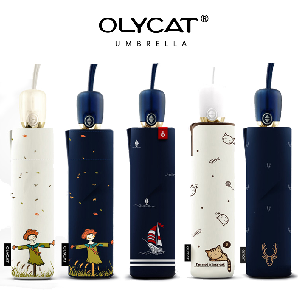 OLYCAT Automatic Umbrella Rain Women Brand Cartoon Print Sunscreen Folding Umbrellas Windproof Anti UV Parasol 5 Styles Paraguas