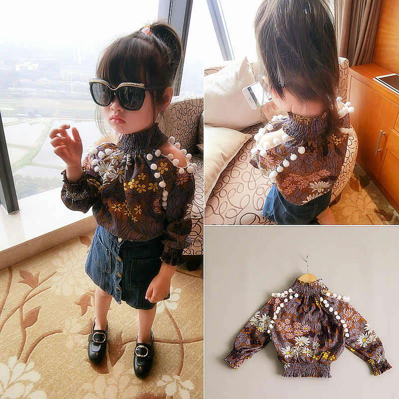 Spring Girls Tops Baby Retro Shredded Flower Lantern Sleeve Tops Fashion Toddler Girls Long Sleeve Shirts Kids Chiffon Tshirt