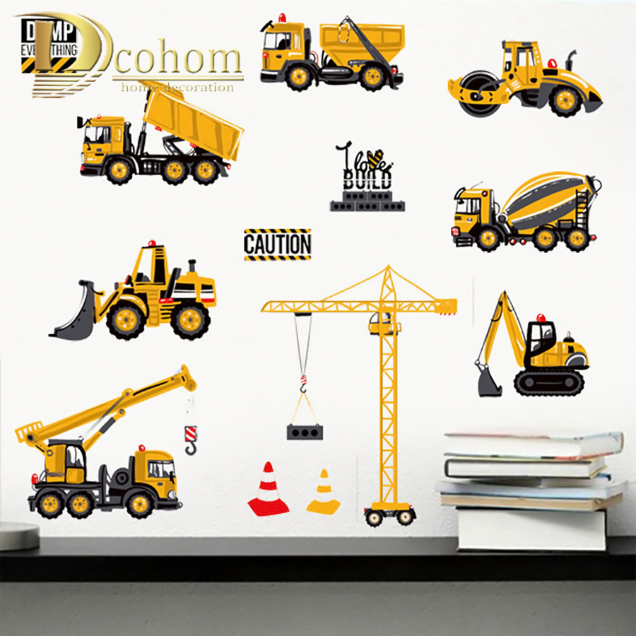 Cartoon Transport Cars Truck Digger DIY Wall Stickers For Kids Rooms Home Decor Boys Room Decoration Vinyl Art Wall Poster