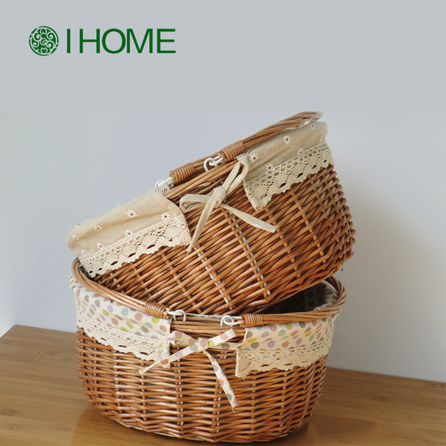 Wicker Picnic basket handmade cassette cover steamed willow baskets woven straw fruits basket Shallow Storage Box & Wicker Picnic basket handmade cassette cover steamed willow baskets woven straw fruits basket Shallow Storage Box with Lace -in Bags u0026 Baskets from ...