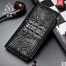 gete 2017 new hot free shipping men Crocodile long wallet more screens double zipper men  purse wallet men bags man clutches