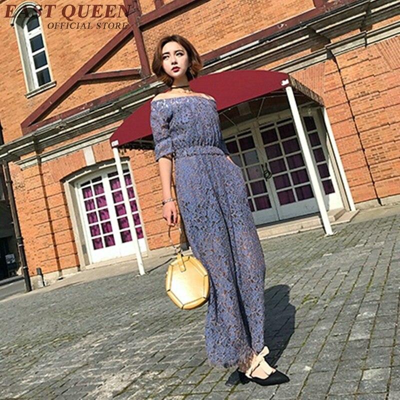 Elegant women jumpsuit lace summer style playsuits for women off shouler purple hollow out siamese trousers KK910 HQ