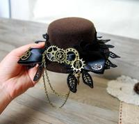 Vintage Lace Big Bow Lolita Cosplay Mini Top Hat With Gears For Men Women Steampunk Party
