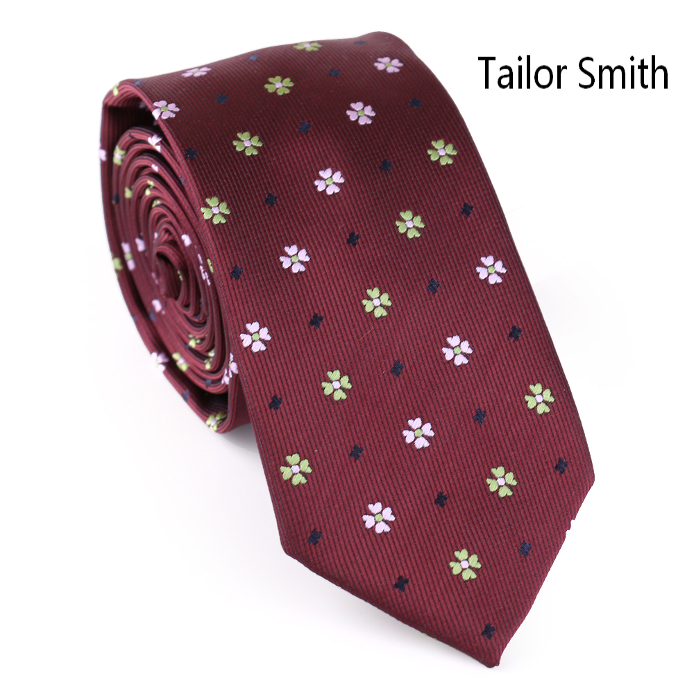 Tailor Smith Floral Fashion Slim Tie Microfiber Jacquard Red Navy
