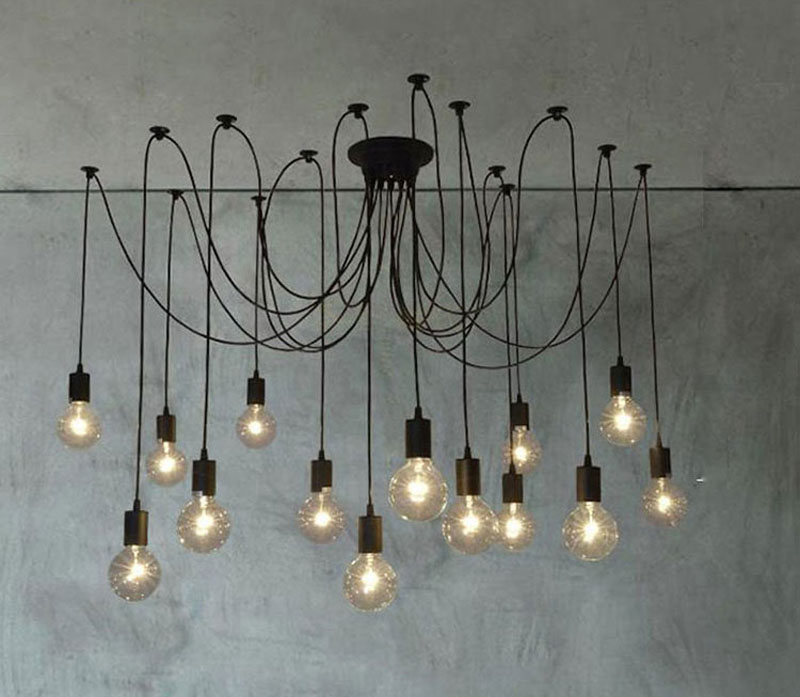 Image 3 - LOFT Modern White/Black Lustre chandeliers 6 16 Arms Retro Adjustable Edison Bulb Lamp E27 Art Spider Ceiling luminaire Fixture-in Chandeliers from Lights & Lighting