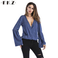 FKZ Vogue Deep V Neck Wrap Sexy Top Women Blouse 2018 Autumn New Women S Fashion
