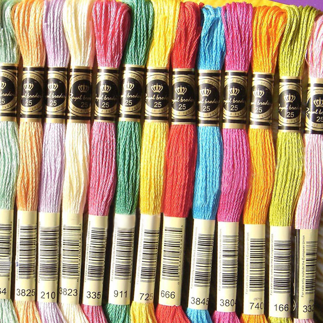 Hoomall 8m Dmc Colors Cotton Floss Embroidery Thread Cross Stitch