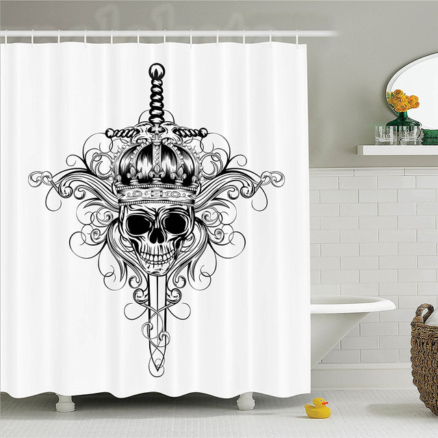 Medieval Skull In Crown And Crossed Swords Patterns King Warrior Historic Illustration Polyester Bathroom Shower Curtain