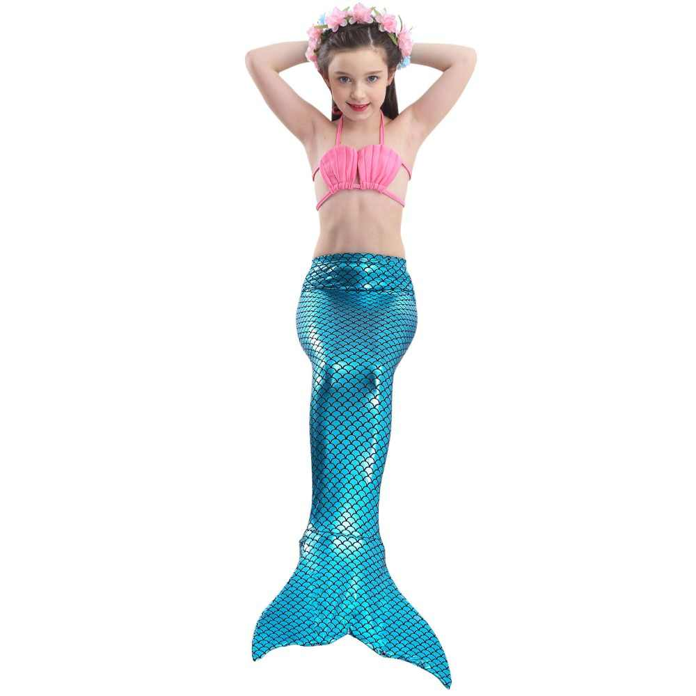 3pcs/Children Mermaid Tails For Swimming The Little Mermaid Ariel Girls Swimsuit Bikini Set Bathing Suit Party Cosplay Costumes