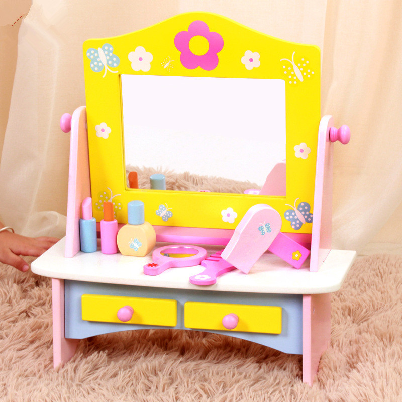 New Arrival Baby Toys Children Dresser Girls Princess Simulation Dressing Table Wooden Tolys Play House Girl Birhday Gift classic world pink princess mirror wooden toy female baby child pretend play vanity dressing table toys furniture for girl