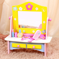 New Arrival Baby Toys Children Dresser Girls Princess Simulation Dressing Table Wooden Tolys Play House Girl Birhday Gift