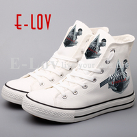 Top Brand Printing Assassins Creed Flat Shoes Women Street Style Canvas Shoes Hip Hop Casual Lace