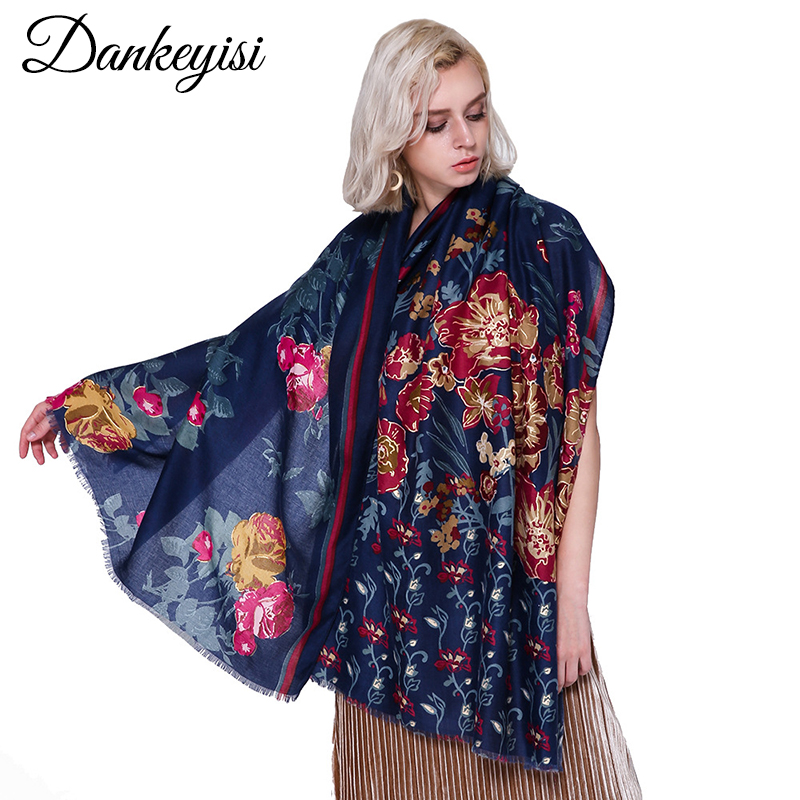 DANKEYISI Women Neck   Scarf   Lady Floral Print Soft Long   Scarf   Cotton   Scarves     Wrap   Shawl Stole Spring Autumn   Scarves   For Women