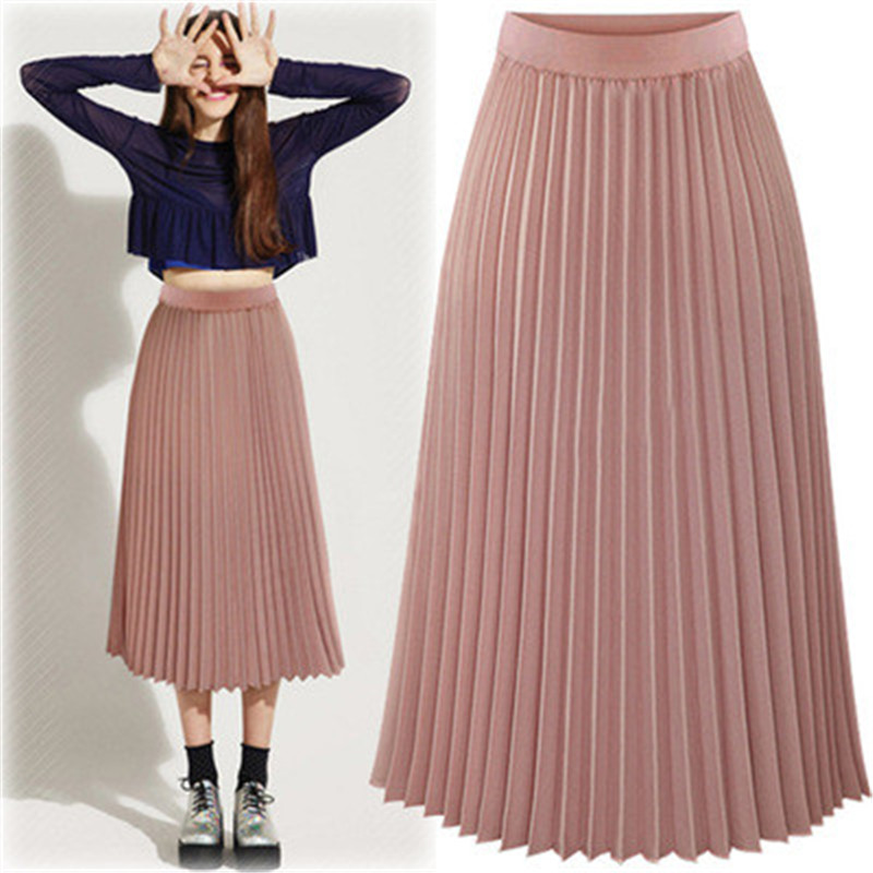 2019 Summer Pleated Skirt Women Elegant High Waist Pink Long Skirt Female Ladies High Quality Women Midi Skirt Black Saia
