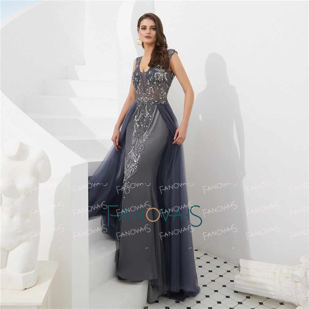 12e24fa1b2 ... 2 Color Burgundy Evening Dresses Long Luxury Prom Dress 2019 Tulle  V-Neck Mermaid Evening ...