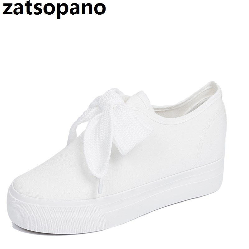 Detail Feedback Questions about Zatsopano 2018 Spring Summer Shoes Woman  5cm High Platform Canvas Shoes Lace Up Casual Flats White Shoes Woman Size  35 40 on ... 6099c1685a3f
