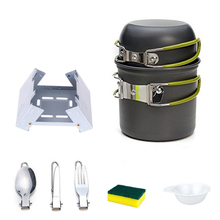 цена на Portable Outdoor Tableware Camping Hiking traveling Cookware Cooking Picnic Bowl Pot Pan Set for 1-2 person+Alcohol Stove