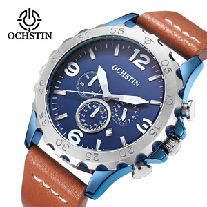 Повседневное модные Для мужчин часы Элитный бренд высокое качество OCHSTIN кожаный ремешок Для мужчин кварцевые наручные часы Relogios Masculino Montre ...