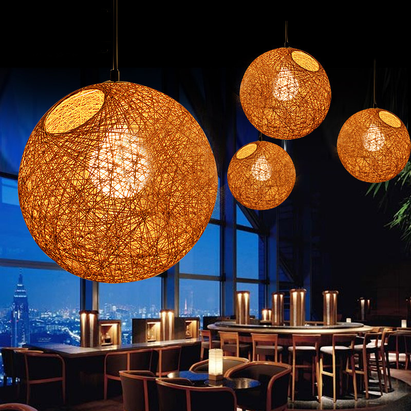 LED Pendant Light Weaving Bamboo E27 Rattan Lamps Modern Hanging Lighting Restaurant Loft Pendants For Room Dining