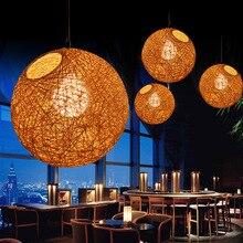 LED Pendant Light Weaving Bamboo E27 Rattan Lamps Modern Hanging Lighting Restaurant Loft Pendants For Room Dining недорого