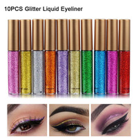 10Pcs Metallic Shiny Smoky Liquid Eyeliner Waterproof Glitter Liquid Eye liner Women Eyes Colorful Cosmetic Eyeshadow Stick