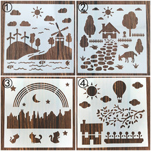 Natural Scenery Country Sticker Painting Stencils for Diy Scrapbooking Stamps Paper Card Template Decoration Album Cake Tools merry christmas trees sticker painting stencils for diy scrapbooking stamps home decor paper card template decoration album