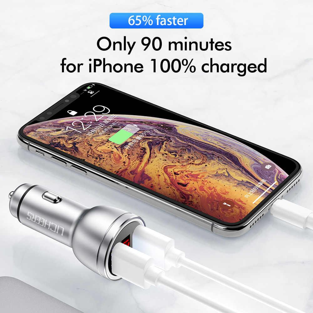 LINGCHEN 12V 3.4A מתכת כפולה USB מטען לרכב תצוגה דיגיטלית אוניברסלי טלפון רכב מטען עבור Xiaomi סמסונג iPhone X 8 בתוספת