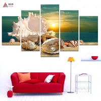 5 Panel Modern Printed Blue Beach Sea Scenes Pictures Wall Art Home Decor For The Shell Sea Paintings Living Room PR053