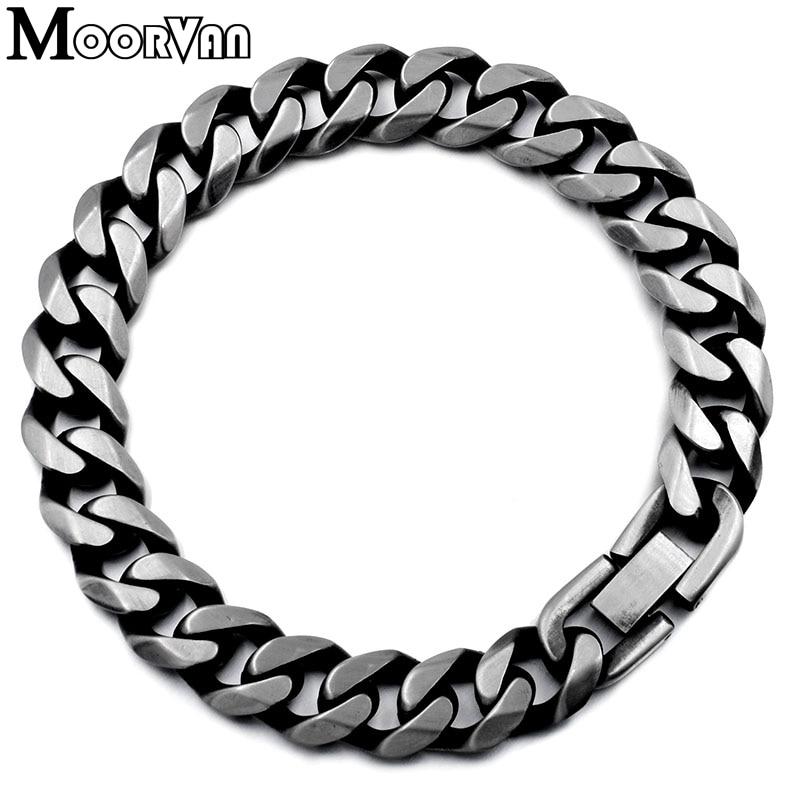 Moorvan Jewelry Men Bracelet Cuban links & chains Stainless Steel Bracelet for Bangle Male Accessory Wholesale B284 14