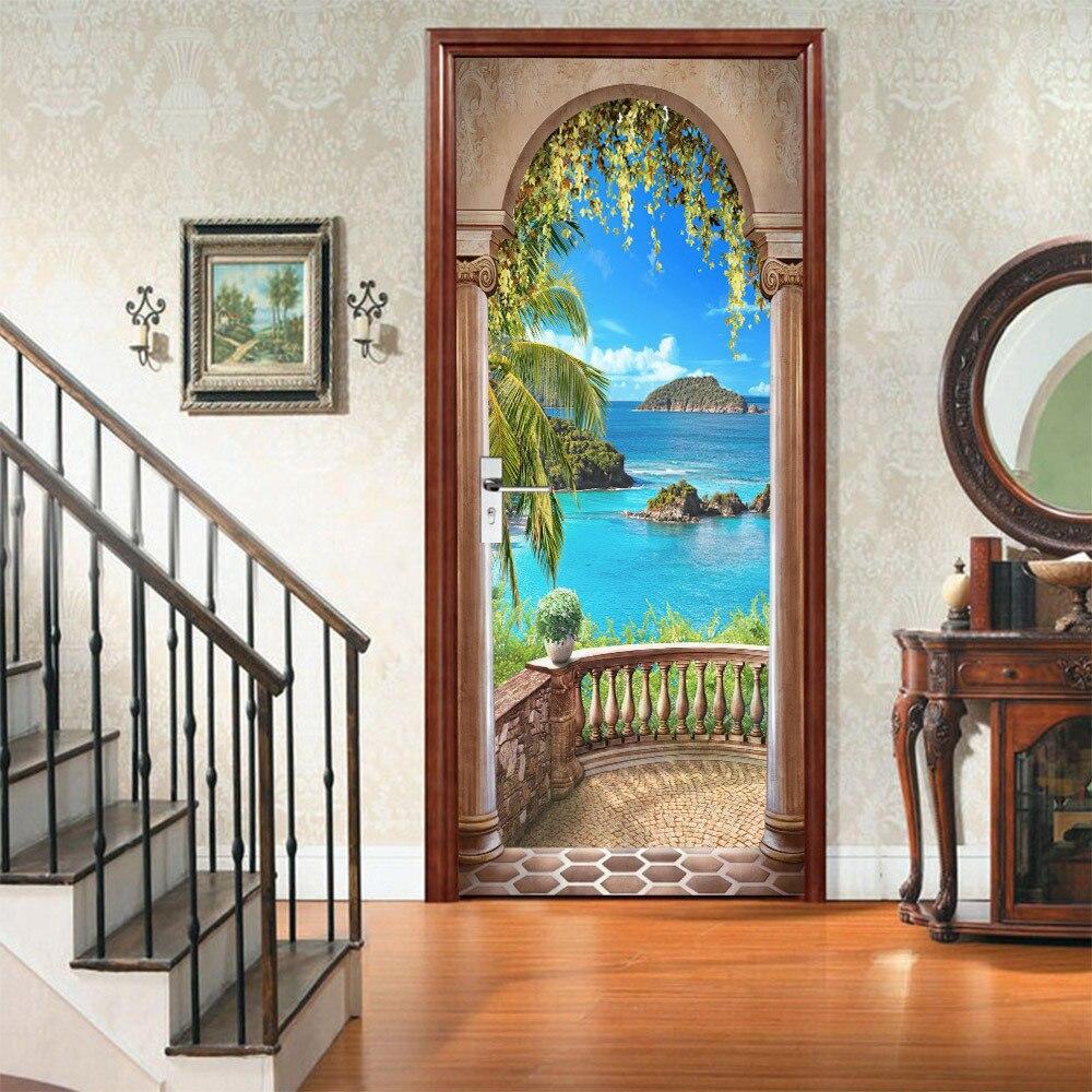 77*200CM DIY 3D Waterproof Island Balcony Landscape Door Stickers Home Decor Self Adhesive Bedroom Living Room Wall Sticker
