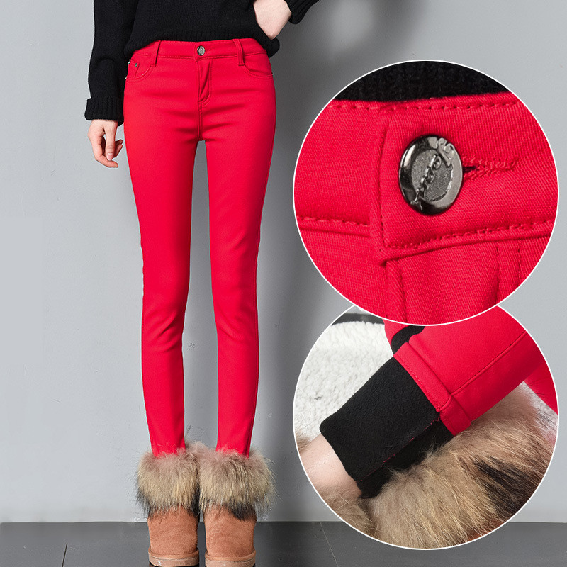 Women Warm Jeans  Woman Plus Size Candy Color Skinny Jeans Thick Velvet Winter Warm Jeans Women Stretch Jeans Denim Pencil Pants