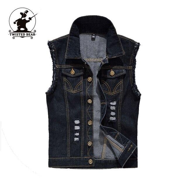 New men's black Denim Vest Designer Fashion Retro vintage Hole High Quality Plus Size Casual Vest Men S~6XL CC4E2200