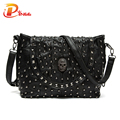 Hot Selling Women Purses And Handbags Luxury 2016 Designer Pinee Skull Rivet Genuine Leather Messenger Bags
