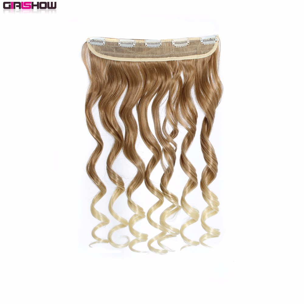 Hair Extensions & Wigs 10pcs/lot Ingenious Girlshow 24 Synthetic Hair Extension One Piece 5 Clips On The Net Clip In Hair Wavy Hairpiece Omi888 100g
