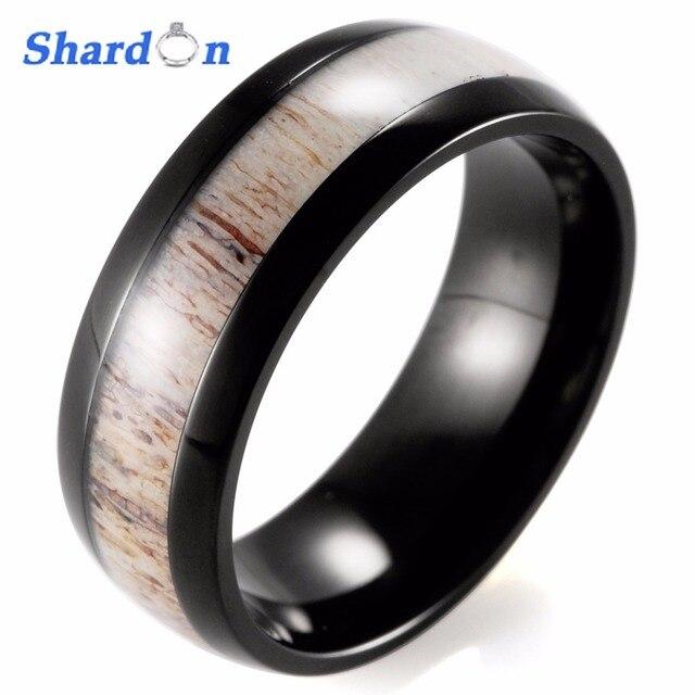 SHARDON IP black Plating Titanium ring real antler inlay wedding