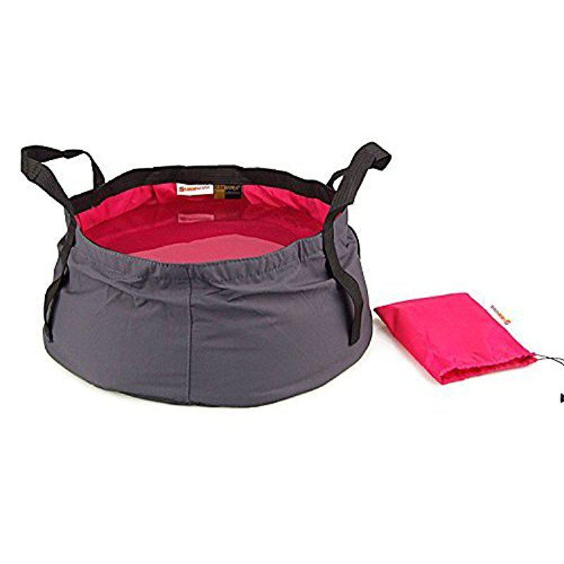 Mounchain Outdoor Tools Camping Hiking Folding Wash basin Bucket Travel Bag (Red/Purple, 12L)