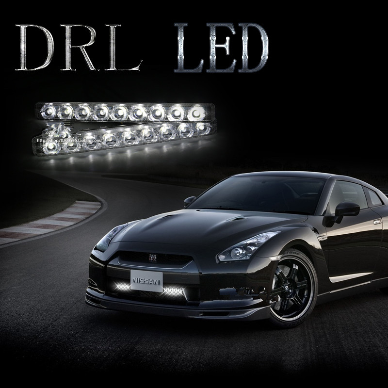 ФОТО 2PCS Universal High Power Xenon White 12V Waterproof 9 LED DRL Fog Lamp Car LED Driving Daytime Running Light
