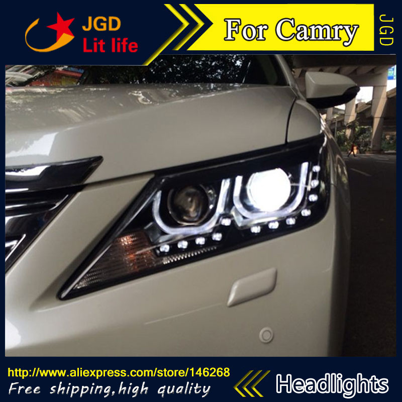 Free shipping ! Car styling LED HID Rio LED headlights Head Lamp case for Toyota Camry 2012 2013 Bi-Xenon Lens low beam