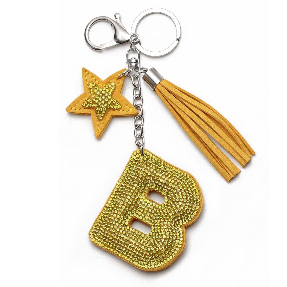 Love Heart Flower Letter Keychain Women Crystal Key Ring Handbag Pendant  Charms Tassel Silver Chain Bag Holder Key Chain Jewelry
