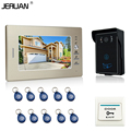 JERUAN 7`` Screen Video Intercom Video Doorbell System 1 monitor + 700TVL RFID Access Waterproof Touch key Camera FREE SHIPPING
