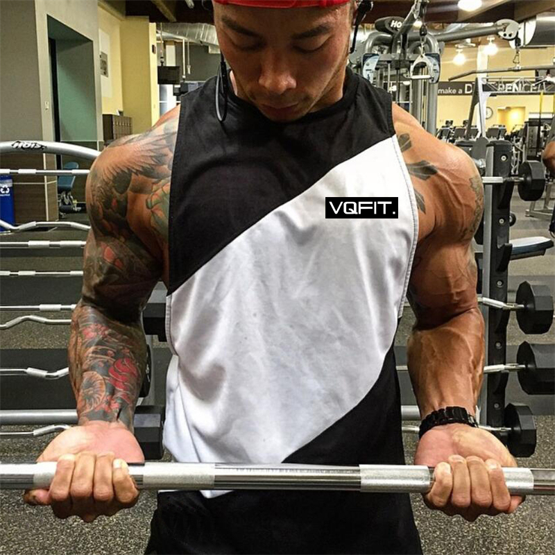 Brand VQ Fitness Clothing Bodybuilding Stringer   Tank     Top   Men Sportswear Singlet Cotton Mesh Gyms Sleeveless Shirt Muscle Vest
